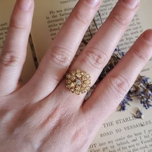 Vintage Gold and Diamond Cluster Ring